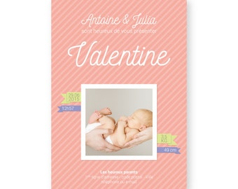 Birth announcement simple and elegant - Personalized photo - Boy or Girl - PDF printable by yourself