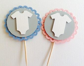 10 Onsie Gender Reveal Cupcake Toppers - Blue & Pink