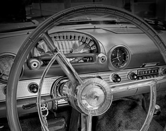 Vintage Ford Thunderbird Interior, Vintage Car Photo, Classic Car Photo, Classic Ford Thunderbird, Vintage Thunderbird, Men's Gift, Dad Gift