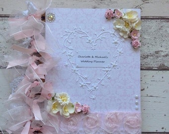 Beautiful HANDCRAFTED wedding planner book journal keepsake in luxury presentation box.