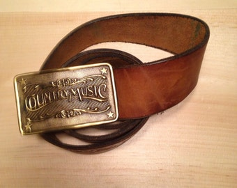 Country Music Leather Belt and Buckle