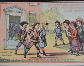 Diamond Dyes Victorian Trade Card 1880s School Children