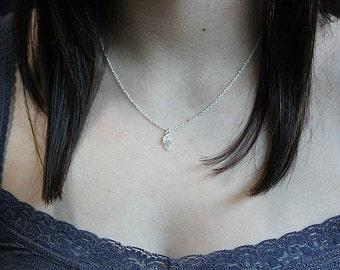Silver Hamsa necklace -Tiny Hamsa Hand necklace -Sterling Silver Hamsa hand necklace - Dainty filigree Hamsa pendant - Hand of Fatima charm