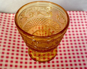 Vintage Amber Pressed Glass Compote/kitchenware/tableware/ glassware