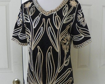 Lauren Michelle black sparkle embroidered vintage blouse size medium