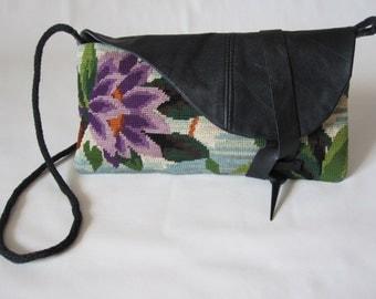 bag Numphea black leather and canvas