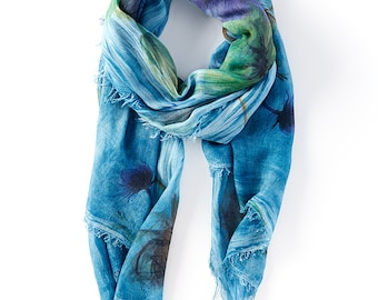 Abstract Print - Womens Scarves - Fashion Scarves -Silk Scarf - Italian Scarf - Printed Scarf - Gorgeous Blue Abstract Print Summer Scarf