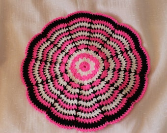 Two-sided crochet chair pads, round chair pads