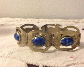 Vintage Mexican Sterling Silver Stone Bracelet