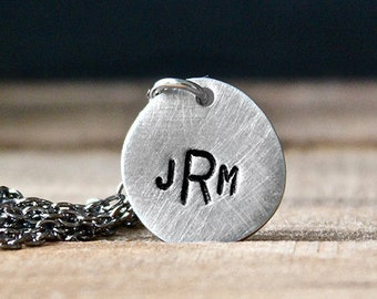 Custom Initials Pewter Disc Necklace - Gifts for Him - Unisex - Hand Stamped Jewelry - Personalized Necklace by Modern Out