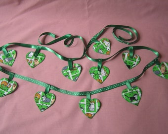 cat bunting, hand stitched, heart bunting, green garland