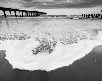 Chasing The Tide, Lowestoft, Black and White, Coast, Seaside, Ocean, Photo, Print, Fine Art, England, English,