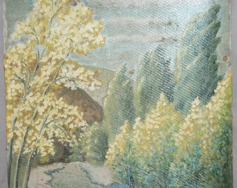 Antique landscape trees oil painting signed