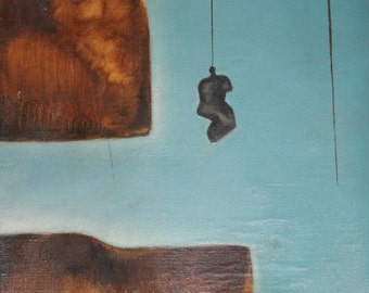 Abstract surrealist vintage oil painting