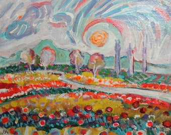 Contemporary expressionist  landscape oil painting signed