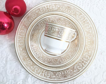 Mikasa Oberlin Fine Wedding China 5 Piece Place Setting - Gold Place Setting, Gold Wedding China, Pretty Dinner Set, Vintage Place Setting