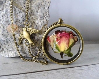 Rose Necklace - Natural Rose In Resin Necklace - Pressed Flower In Resin Necklace - Real Flower In Resin Necklace - Rose In Resin Necklace