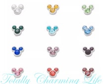 Mickey Mouse Birthstone Month Stone Floating Charm fits Living Memory Floating Origami Locket Necklace Jewelry