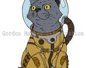 Cat in a Spacesuit Illustration Print