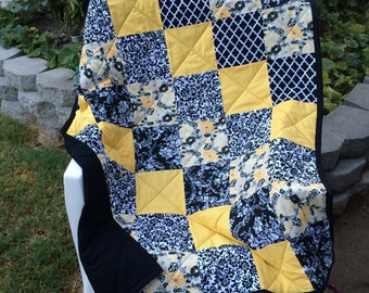 Yellow and black baby quilt~SALE!!