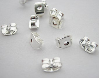 100 Earring Backs Butterfly Stoppers Nuts (50 Pairs) Silver Plated Earring Components Findings Jewellery Making Supplies