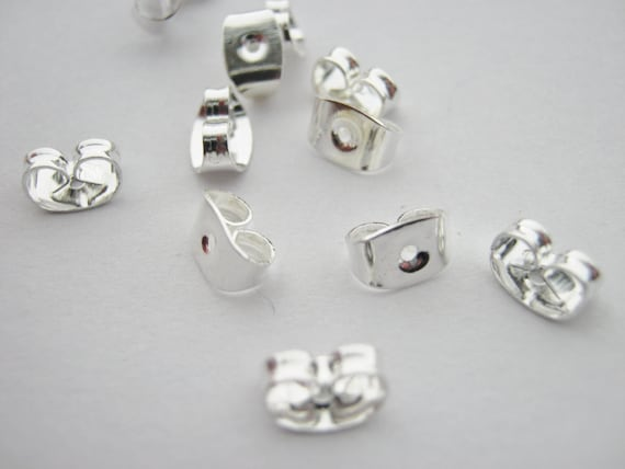 100 earring backs butterfly stoppers nuts 50 pairs silver