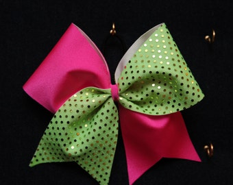 Hot Pink and Lime Green Sequence Cheer Bow