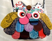 Cute Plump Owl Bag cloth handmade bag Cross body bag zip pocket hand stitched Owl Sling bag bird bag kid bag child bag fabric bag girl bag