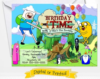 Adventure Time Birthday Invitations Printed with Envelopes or Digital Copy 24 Hr Turnaround!
