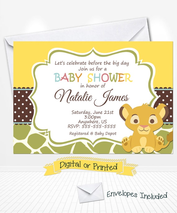 simba lion king baby shower invitations printed with envelopes or