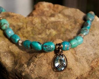 Turquoise necklace, aqua pendant