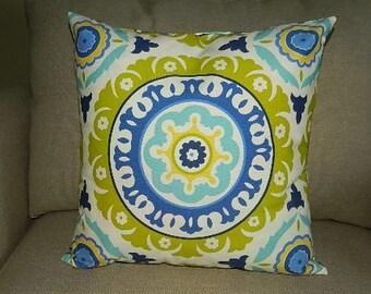 7 Sizes Available - Waverly Solar Flair Lime & Indigo Pillow Cover