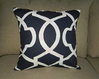 7 Sizes Available - Lattice White on Navy Pillow Cover