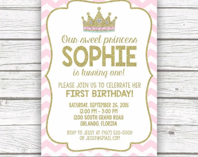 Princess Birthday Invitation, First 1st Birthday Invitation, Pink and Gold Birthday Invitation, First Birthday Girl, Princess Invitation