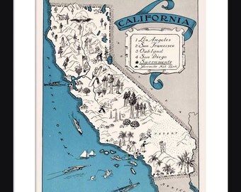 California Map - Map of California - State Map - Vintage Map - Poster - Print - Pictorial - Cartoon Map