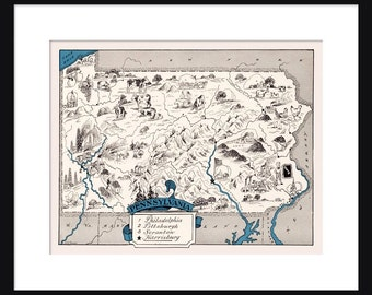 Pennsylvania Map - Map of Pennsylvania - State Map - Vintage Map - Poster - Print - Pictorial - Cartoon Map