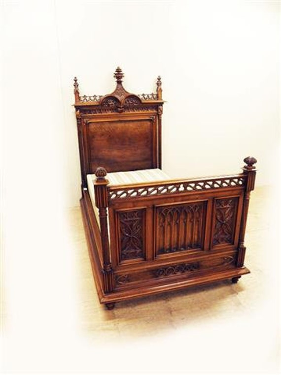rare french gothic twin bed antique walnut high crown, Headboard designs