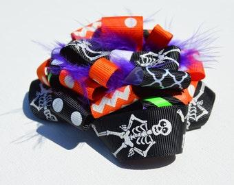 Halloween hairbow, Hairbow, Burst Hairbow, Halloween, Halloween Burst bow, orange, black, purple, Skeleton hairbow, elastic hairband