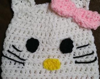 Hello Kitty Crochet Hat Handmade