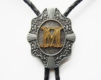 """Initial Letter """"M"""" Western Cowboy Rodeo Bolo Tie"""