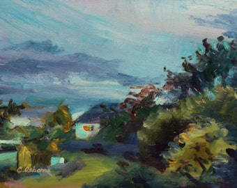 Original Oil Painting, Plein air landscape, 12x16 in, Midsummer evening sky,  Blue, lilac and green colours, Tonal Impressionist style