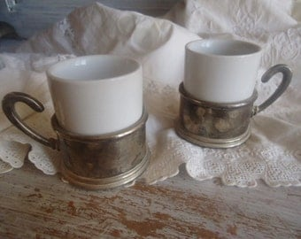 Two china cups with plated silver,two vintage cups,Cups from France 50's