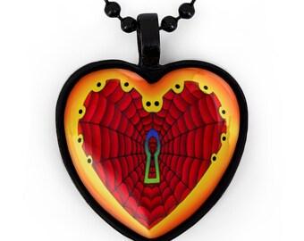 Jet Black Neo-Traditional Spierweb Keyhole Heart Pendant Necklace 213-JBHN