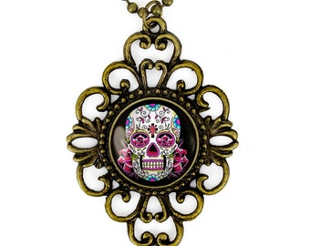 Antique Bronze Pink Day of the Dead Sugar Skull Glass Filigree Pendant Necklace 58-BFN