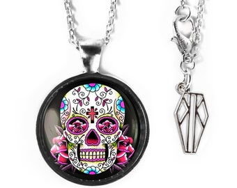 Platinum Silver Traditional Pink Day of the Dead Sugar Skull Girly Glass Halloween Dia De Los Muertos Pendant Necklace 58-SRPN