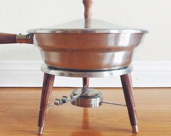 Vintage Atomic Fondue Set / Chafing Dish / Warmer