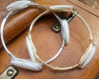 White shell,mother of pearl bangle bracelets , sold separately