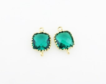 G000102C/Emerald/Gold plated over brass/Tooth Framed square faceted glass connector/9mm x 13.4mm/2pcs