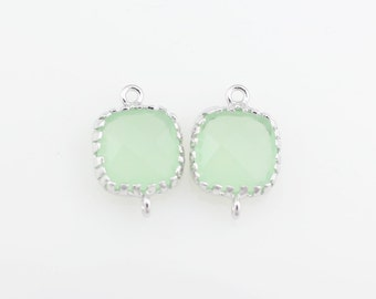 G000114C/Light Mint/Rhodium plated over brass/Tooth Framed square faceted glass connector/9mm x 13.4mm/2pcs