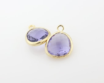 G001006P/Tanzanite/Gold plated over brass/Asymmetrical framed glass pendant/13mm x 15.8mm/2pcs